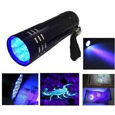 Mini Aluminum UV Ultra Violet 9 LED Flashlight Blacklight Torch Light Lamp 7v