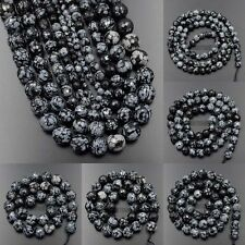 """Faceted Natural Snow Flake Gemstone Round Beads 15.5"""" 4mm 6mm 8mm 10mm 12mm"""