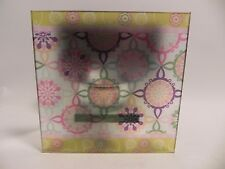 VINTAGE DECORATIVE GLASS TEALIGHT CANDLE HOLDER SHADOWBOX ABSTRACT DESIGN