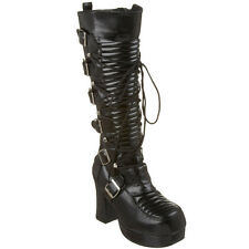 DEMONIA GOTHIKA-200 Women's Platform Goth Punk Lolita Lace-up Knee High Boots