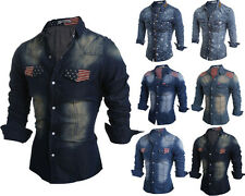 Mens Button Down Printing Casual Denim Shirts Wash Slim Fit Long Sleeve Casual F