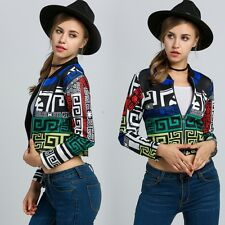 Fashion Women New Multicolor Long Sleeve Geometric Print Zip-Up Crop Jacket