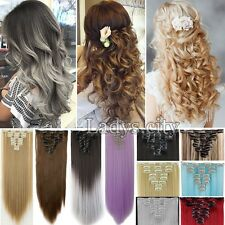 Full Head 8Pcs 100% Natural Clip In On Hair Extensions Long Straight Curly T3b