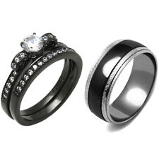 3 PCS Couple Round Cut CZ Black IP Stainless Steel Ring Set/Mens Matching Band