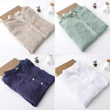 Vouge Women's Loose Long Sleeve Cotton Linen Sheer T-Shirt Casual Tops Blouses