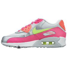 new-nike-air-max-90-leather-gs-youth-athletic-shoes-girls-kids-white-pink-silver