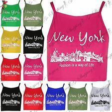New Womens Ladies Newyork Camisole Strappy Crop Top Tank Vest T Shirt Plus Size