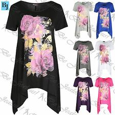 Womens Floral Butterflies  Shoulder Dress Ladies Hanky Hem Baggy Cap Sleeve Top