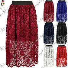 Ladies Womens Waist Band Elasticated Floral Flared Lace Layer Midi Swing Skirt