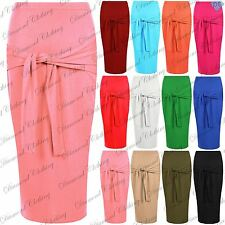 Womens Ladies Front Waist Bow Tie Knot Belt Stretchy Pencil Bodycon Midi Skirt