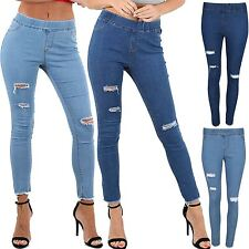 Womens Skinny Ripped Destroyed Denim Look Jeans Elasticated Waist Band Jeggings