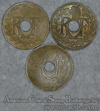 France 25 Centimes 1918 1922 1923 3 Coin Lot Different Dates Nice Group