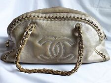 FABULOUS AUTHENTIC CHANEL HANDBAG METALLIC CHAMPAGNE SILVER GOLD RARE