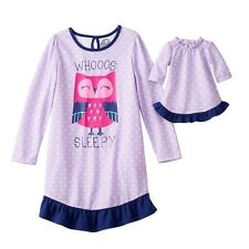 "Girl & Doll Matching Pajamas 4-14 Purple Owl fits 18"" American Girl Doll Clothes"