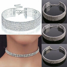 Clear Crystal Diamond Rhinestone Choker Necklace Wedding Party Prom Silver Chain