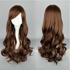 Long Brown Women 70CM Lolita Hair Anime Cosplay Wig Curly Wavy Costume Party Wig