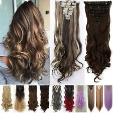 8 Piece Long Full Head Clip In As Human Hair Extensions Real Thick Synthetic WR3