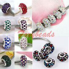 5pc Chic Resin Crystal Glass European 5mm Hole Spacer Bead DIY Bracelet Jewelry