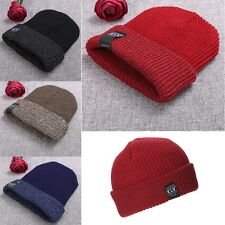 Fashion New Unisex Women Men Stretch Knit Hat Beanie Double Cuffed Hat Ski Skate