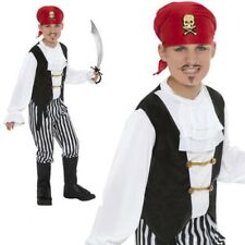 Childs Pirate Boy Costume Black White Buccaneer Pirate Kids Fancy Dress Outfit