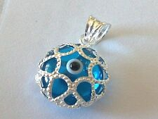 Turkish Evil Eye Protection Pendants  Solid Silver Base Many Shapes & Colors
