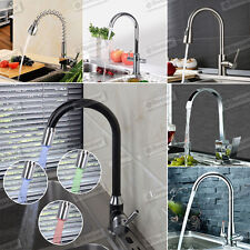 Modern Chrome Kitchen Sink Basin Monobloc Mixer Tap Swivel Lever Spout