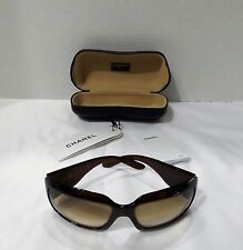 WOMEN'S CHANEL BROWN SUNGLASSES MOTHER OF PEARL CC WITH CASE