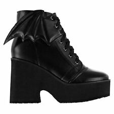 Iron Fist Womens Wing Detailing Boots Lace Up Chunky Comfortable Base Shoes