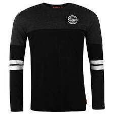 Kickers Mens T Shirt Cut and Sew Stripe Chest Print Long Sleeve Crew Neck Tee