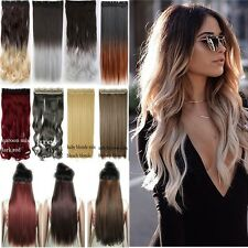 US Clip in Full Head Hair Extensions For Human Long Curly Natural Hair Piece T3b