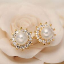 1Pair New Fashion Crystal Rhinestone Pearl Women Lady Ear Stud Earrings Jewelry