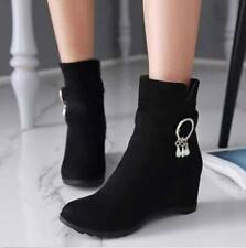 Women Wedge Booties Oxford High Heels Ankle Boots Shoes Fashion Platform Shoes@@