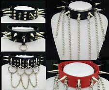 NTEN110~2 Huge Silver-Metal Spikes PU Black Leather Collar Choker Necklace