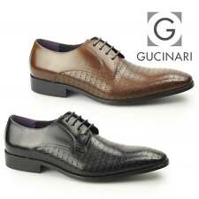 Gucinari BESO Mens Leather Laser Cut Formal Evening Smart Derby Shoes Brown Tan