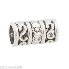 Wholesale DIY Jewelry Spacers Beads Fit Charm Bracelet Tube Silver Tone 12x6mm
