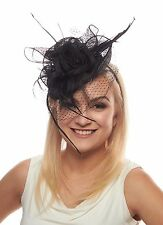 Enchantment Sinamay Fascinator Cocktail Hat with Flower Trio