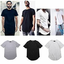 Men Women Longline Hipster Curved hem Plain T-shirts Extended Kpop Elongated Top