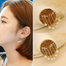 Women's Gold Silver Plated Tassel Pearl Drop Ear Stud Earrings Fashion