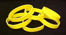 """Yellow Awareness Bracelets 6 Piece Lot Silicone Wristband Cancer Cause 8"""" New"""