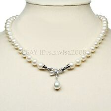 s333 beautiful AAA 7-8mm 8-9mm White freshwater Pearl necklace+pearl pendant