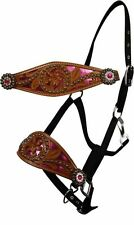 Showman® Bronc nose Halter Black/ Teal Pink Filigree inlay Crystals concho SALE