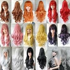 80CM New Long Cosplay Synthetic Women Heat Resistant Curly Wavy Full Hair Wig v2