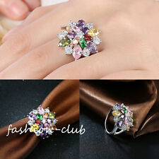 Elegant Lady Colorful Flower Zircon Silver Plated Finger Ring Jewelry US 6/7/8/9