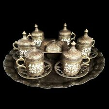 Ottoman Turkish Bronze Brass Tea Coffee Saucers Cups Tray Set - UK