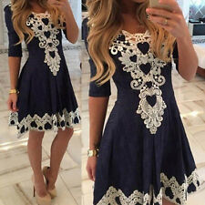 Fashion Women Summer Lace Long Sleeve Party Evening Cocktail Short Mini Dres
