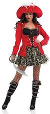 Ladies Glitzy Pirate Costume For Buccaneer Fancy Dress Adults Womens