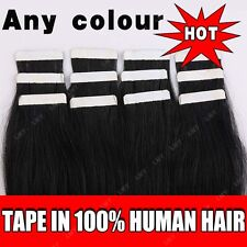 Tape-in 100% Real Remy Human Hair Extensions 40PCS 100G Black Long Soft  BS004