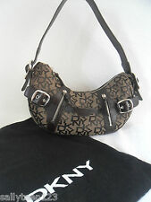 DKNY BROWN LEATHER / FABRIC MONOGRAM SIGNATURE SHOULDER / HAND BAG WITH DUSTBAG