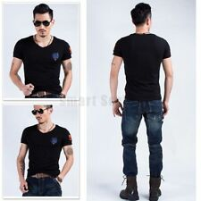 Wolf Embroidery Short Sleeve V-neck Sports Jersey Casual Army T shirt Men's Tee