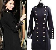 Womens Double Breasted Long Jacket Trench Dust  Coat Slim Wool Blend Parka Black